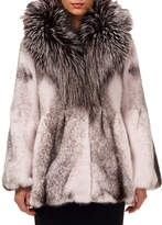 Gorski Cross Mink-Fur Bell Jacket w/ Fox-Fur Hood