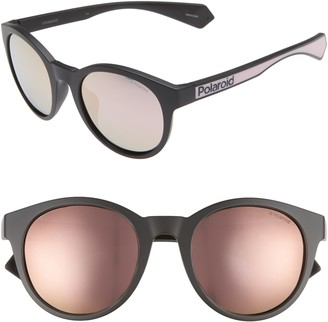 Polaroid 52mm Polarized Mirrored Round Sunglasses