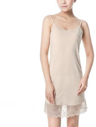 Hoffen Women's Pure Mulberry Silk Sleepwear Lace Full Slip Chemise (Nude M)