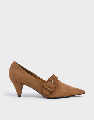 Charles & Keith Textured Buckle Strap Cone Heel Pumps
