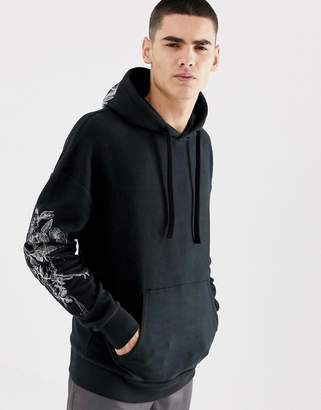 Jack and Jones Originals Hoodie With Hood And Sleeve Embroidery-Black