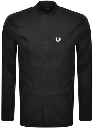 Fred Perry Long Sleeved Grandad Collar Shirt Black