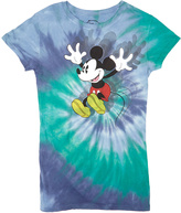 Jerry Leigh Mickey Mouse Swimmer Blue Tie-Dye Excited Tee - Juniors