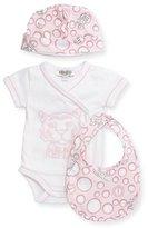 Kenzo Short-Sleeve Surplice Playsuit, Baby Hat & Bib Set, Pink, Size Newborn-6 Months