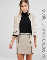 Alter Petite Crop Jacket With Piping Detail Co-Ord