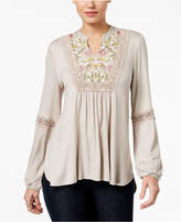 Style&Co. Style & Co Embroidered Crochet-Trim Peasant Top, Created for Macy's