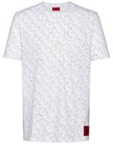 HUGO BOSS - Cotton Jersey T Shirt With Cubistic Logo Print - Black