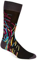 Bugatchi Mercerized Abstract Mid-Calf Crew Socks