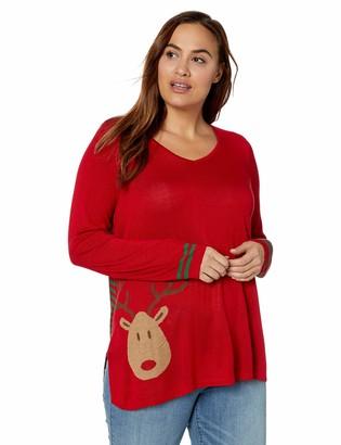 ONEWORLD Women's Plus Size Reindeer Stripes Christmas Sweater