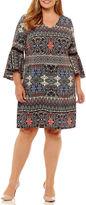 MSK 3/4 Sleeve Floral Sheath Dress-Plus