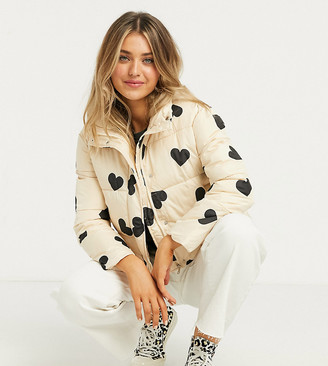 Wednesday's Girl padded jacket in heart print