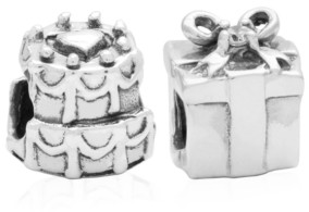 Rhona Sutton 4 Kids Children's Birthday Cake Present Bead Charms - Set of 2 in Sterling Silver