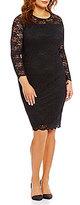 Vince Camuto Plus Scallop Hem Lace Long Sleeve Sheath Dress