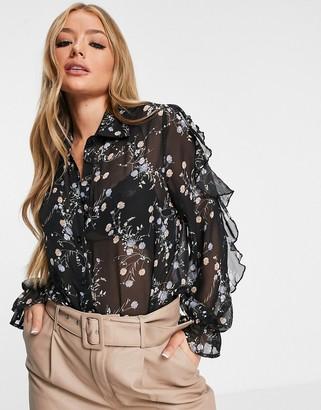 AX Paris ruffle sleeve blouse in print