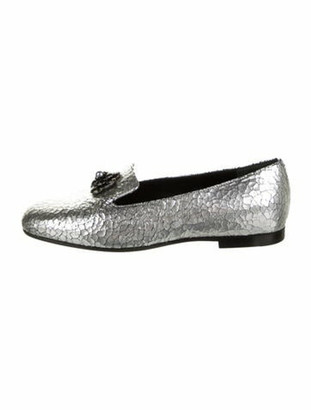 Chanel 2015 Faux Pearl Accents Loafers Silver