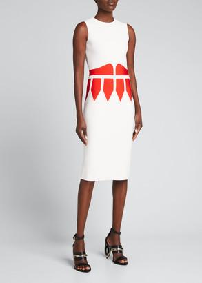 Alexander McQueen Corset-Print Knit Midi Dress