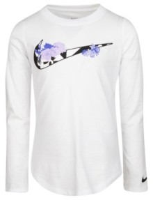 Nike Little Girls Long Sleeve Swoosh Logo Graphic T-shirt