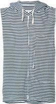 Engineered Garments striped sleeveless hoodie - men - Cotton - L