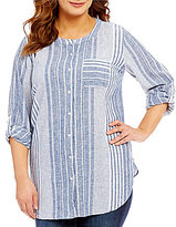 Vince Camuto Two by Plus Variegated Stripe Linen Button Front Shirt