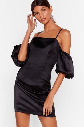 Nasty Gal Womens Sleeve Some Room Satin Cold Shoulder Dress - Black