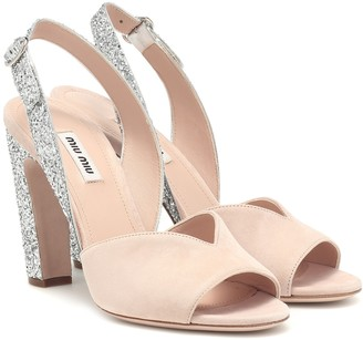 Miu Miu Glitter and suede slingback sandals