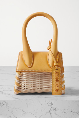 Jacquemus Le Chiquito Leather-trimmed Straw Tote - Yellow
