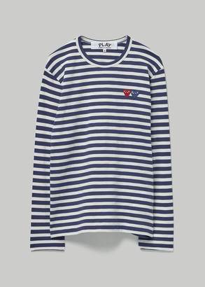 Comme des Garcons Men's Long Sleeve Double Heart T-Shirt in Navy/White Stripe Size Small 100% Cotton
