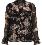 River Island Womens Black floral frill bib blouse