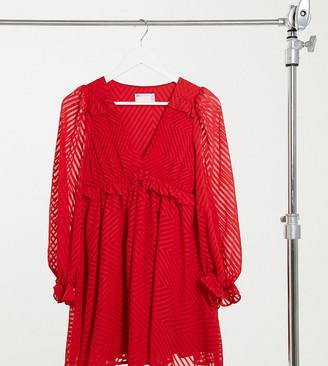 ASOS DESIGN Petite mini babydoll smock dress in chevron dobby in red