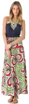 T-Bags Tbags los angeles Print Maxi Dress with Beaded Bib