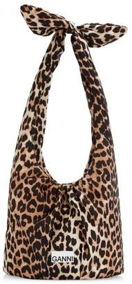 Ganni Mini Padded Leopard-Print Hobo Bag