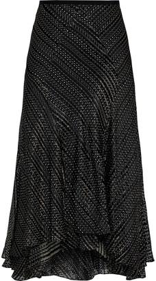 Diane von Furstenberg Debra Layered Printed Burnout Silk-blend Midi Skirt
