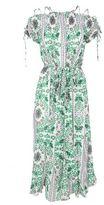 Tory Burch Asilomar Lace-up Printed Silk-crepe Midi Dress