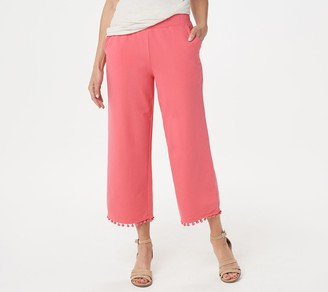 Belle By Kim Gravel French Terry Pom-Pom Cropped Pants