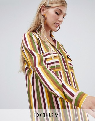 Stradivarius shirt dress in stripe