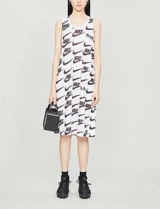 Black Comme des Garcons x Nike logo-print jersey midi dress