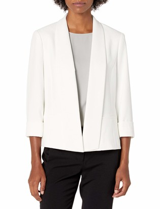 Kasper Women's Texture Pique Shawl Collar Open Front Jacket with Rolled Sleeves