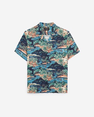 The Kooples Printed navy blue shirt with tropical motif
