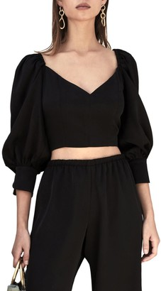 Cult Gaia Debi Puff-Sleeve Cropped Sweater