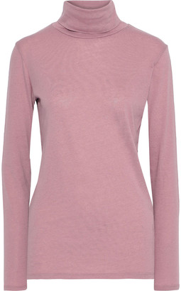 Majestic Filatures Chloe Cotton And Cashmere-blend Jersey Turtleneck Top