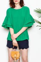 Jade Trumpet Sleeve Top