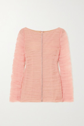 KHAITE Vienna Crystal-embellished Ruched Tulle Top - Blush
