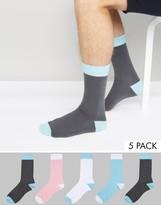 Asos Socks In Pastels 5 Pack