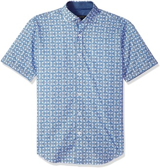 BUGATCHI Mens Fitted Printed Geo Pattern Point Collar Short Sleeve Shirt