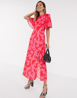 Style Cheat flutter sleeve midaxi dress in contrast red floral
