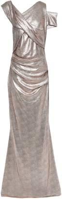 Talbot Runhof Draped Metallic Coated Jersey Gown