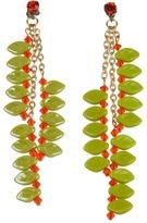 Swarovski James Murray Hyacynth Crystal and Ceramic Leaf Earrings