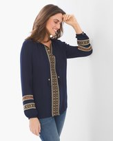Chico's Mixed Fabric Sleeve Peasant Top