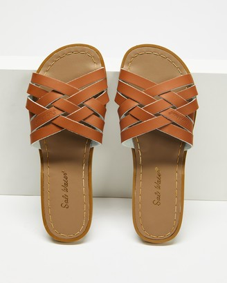 Saltwater Sandals - Women's Brown Flat Sandals - Womens Retro Slides - Size 4 at The Iconic