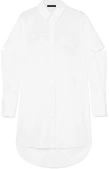 Alexander McQueen Oversized Cutout Cotton Oxford Shirt - White